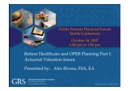 Actuarial Valuation Issues - Public Pension Financial Forum