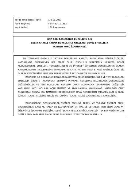 İLK HALKA ARZ İZAHNAME ÖRNEĞİ - BNP Paribas Cardif Emeklilik
