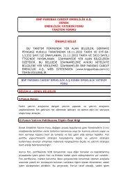 Fon Tanıtım Formu - BNP Paribas Cardif Emeklilik