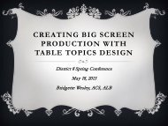 CREATING BIG SCREEN PRODUCTION WITH TABLE TOPICS DESIGN
