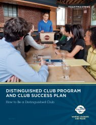 DISTINGUISHED CLUB PROGRAM AND CLUB SUCCESS PLAN