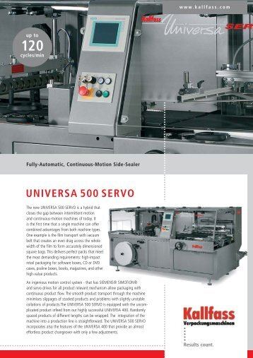 universa 500 servo - Dekker Packaging