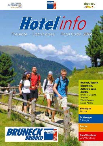 Preisliste · Listino prezzi · Hotel Guide 2012 - Bruneck