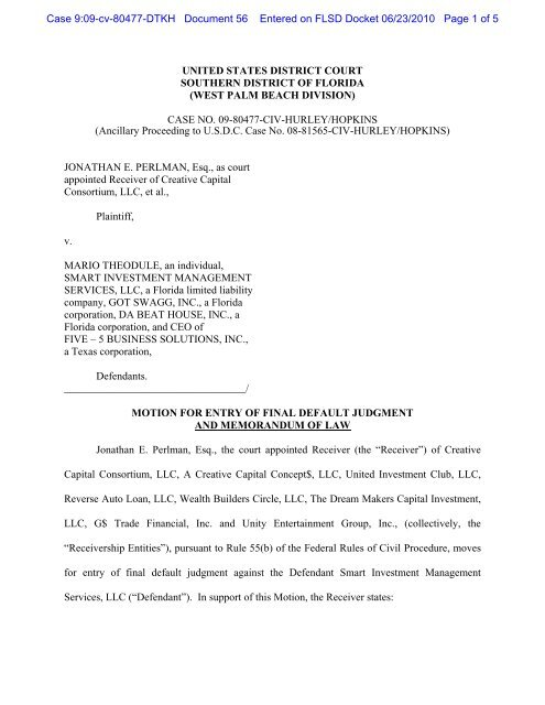Motion For Entry Of Final Default Judgment Against SIMS