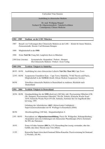 Curriculum Vitae Sinensis - Dr. med. Wolfgang Margraf