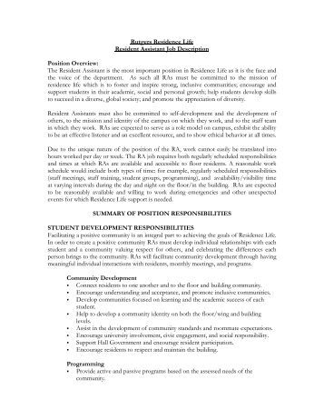 resident assistant essays for job applicant