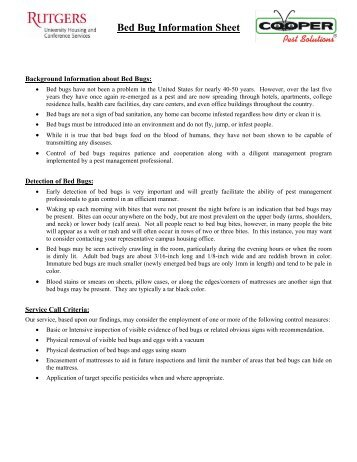 Exceptionnel Bed Bug Information U0026 Fact Sheet   Monmouth County