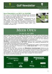 Newsletter Juli 2009 - Golfclub am Meer