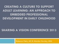 Creating a Culture to Support Adult Learning- An ... - Sharing A Vision