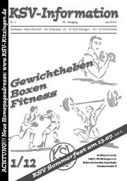 N eue H omepageadresse: www .KS V - KSV-Kitzingen