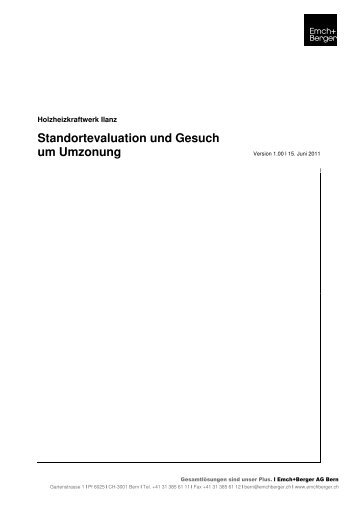 Standortevaluation und Gesuch um Umzonung - bei der ...