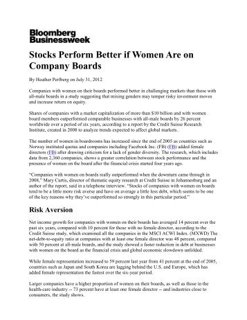 Stocks Perform Better if Women Are on Company Boards