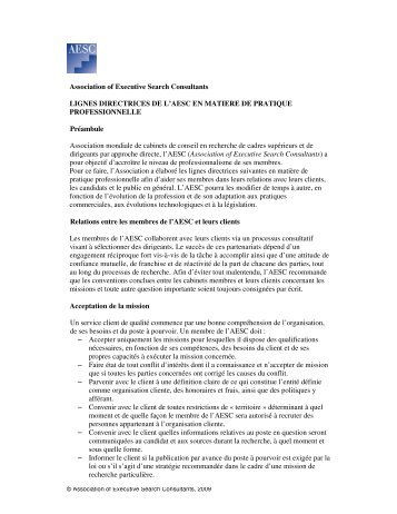 Association of Executive Search Consultants LIGNES ...