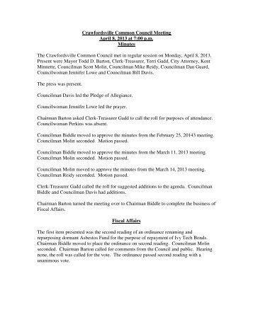 Crawfordsville Common Council Meeting April 8, 2013 at 7:00 p.m. ...