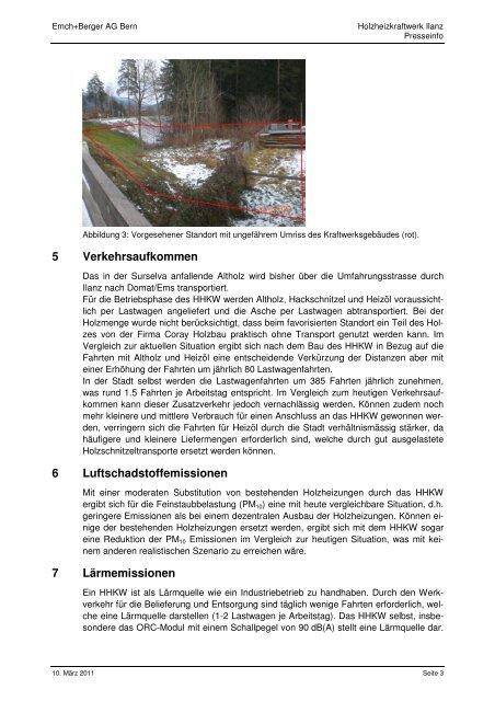 Presseinfo - bei der Holzheizkraftwerk Ilanz AG - Stadt Ilanz