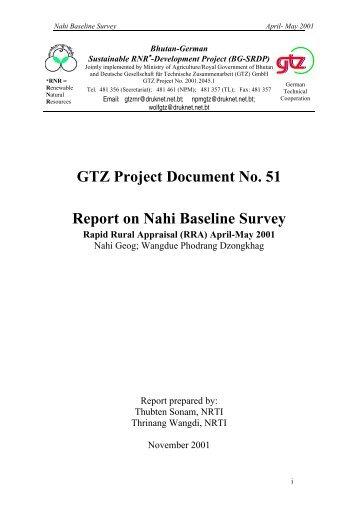 GTZ Project Document No. 51 Report on Nahi Baseline Survey
