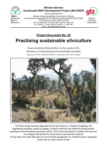 Project Document No. 52 Practising sustainable silviculture