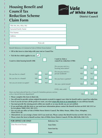 Housing Benefit Form Housing Benefit And Council Tax Support