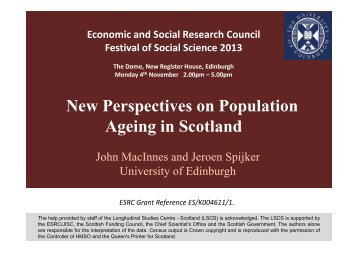 New Perspectives on Population Ageing in Scotland