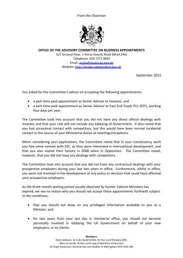 Approval letter - Advisory Committee on Business Appointments