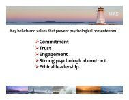 Commitment Trust Engagement Strong psychological contract Ethical leadership
