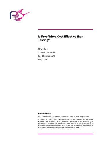 Is Proof More Cost Effective than Testing?