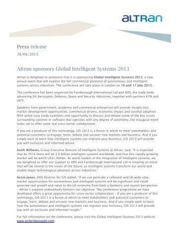 Press release Altran sponsors Global Intelligent Systems 2013
