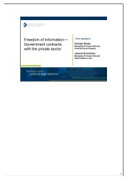 Freedom of Information— Government contracts with the private sector