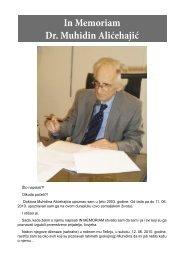 In Memoriam Dr Muhidin Alićehajić