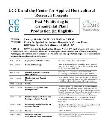 Pest Monitoring 10.30.12 - San Diego