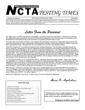 TESTING TIMES - the National College Testing Association