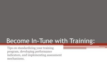 Become In-Tune with Training