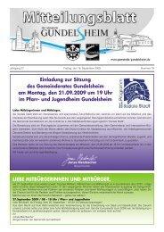 Einladung zur Sitzung des Gemeinderates Gundelsheim am Montag ...