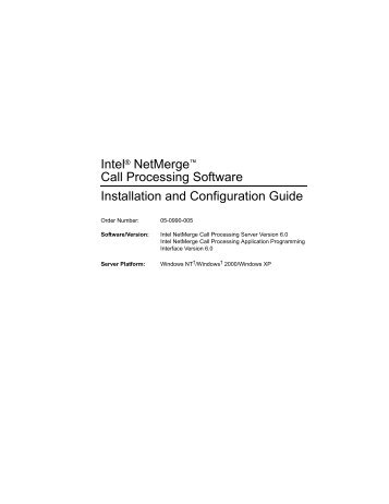 Call Processing Software Installation and Configuration Guide