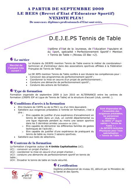 Plaquette De Jeps Paris Ligue De Tennis De Table Du Centre