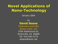 Dr. David Soane - MIT · Stanford · Berkeley Nanotechnology Forum