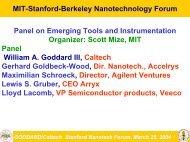 William A. Goddard - MIT · Stanford · Berkeley Nanotechnology Forum