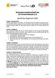 Schweizermeisterschaft der LO Formel Renault 2.0 Sportliches ...
