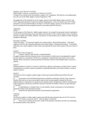 Guidance on EC Directive 93/36/EEC