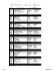 Beach Watch Abbreviation Code List for All Species