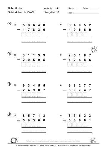 Arbeitsblatt Mathe Schriftliche Multiplikation: Lernstübchen ...
