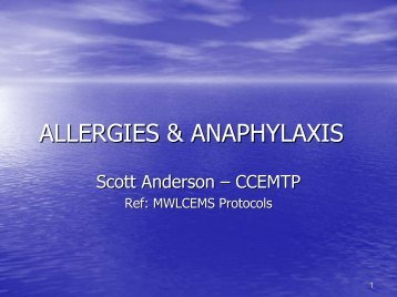 ALLERGIES & ANAPHYLAXIS