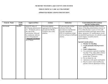 Approved transport medications - Centegra Health System