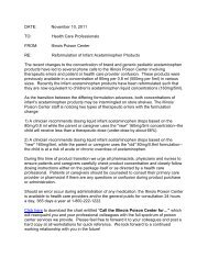 Illinois Poison Center letter on reformulation of infant acetaminophen