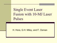 Single Event Laser Fusion with 10-MJ Laser Pulses