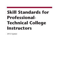 Skill Standards for Professional- Technical College Instructors