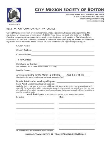 REGISTRATION FORM FOR NIGHTWATCH 2008 Church Name ...
