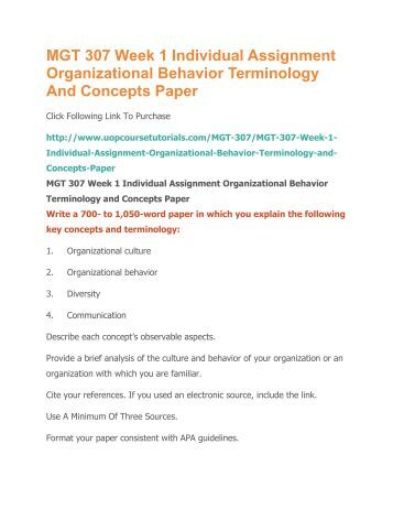 organizational behavior and terminology paper Organizational behavior terminology organizational behavior terminology and concepts paper organizational behavior is defined as the study of individuals.