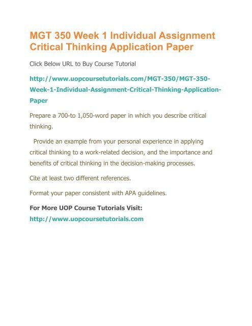 Critical thinking application paper mgt 350