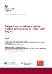 E-cigarettes an evidence update A report commissioned by Public Health England